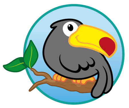 crocket: Illustration of a bird of Brazilian toucan wildlife Illustration