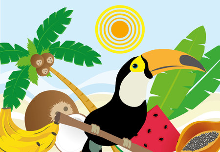 crocket: Illustration of a typical Brazilian landscape of the beach with fruits, toucans and fruit Illustration