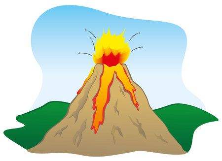Illustration of a natural catastrophe, Natures strength the volcano erupted. Ideal for educational and institutional materials Illustration