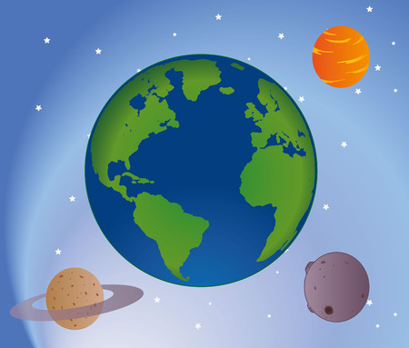ufology: Illustration set of planets in outer space universe. Ideal for promotional and educational materials