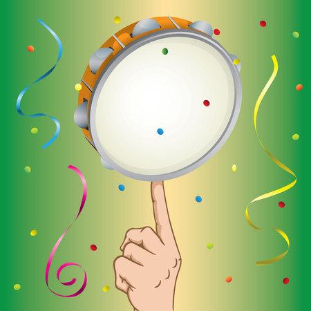 Illustrazione di una mano di persona che equilibra la samba di tamburello.