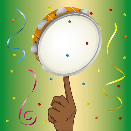 Illustrazione di una mano di persona afrodiscendente, che equilibra la samba di tamburello. Ideale per materiali didattici educativi e istituzionali