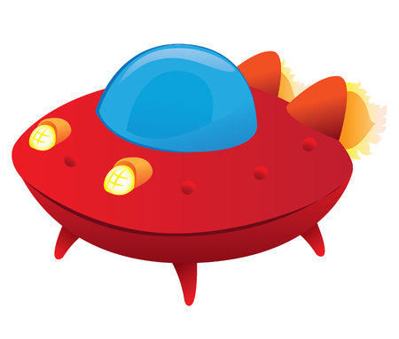 invading: Illustration of a spaceship, flying saucer. Ideal for promotional and educational materials Illustration