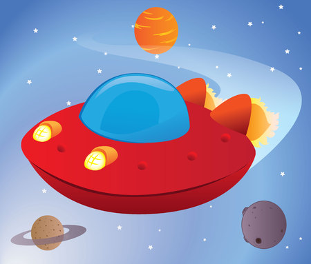 Illustration of a spaceship, flying saucer travel between planets in outer space universe. Ideal for promotional and educational materials