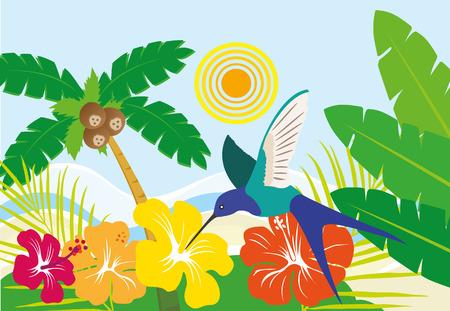 ecosistema: Ilustración de un paisaje típico brasileño de la playa con frutas, pájaros y flores
