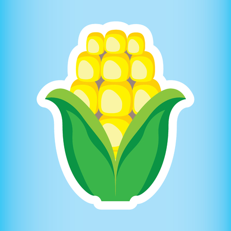 Illustration icon of fruit and sereal healthy corn on the cob. Ideal for food and nutritional education materials