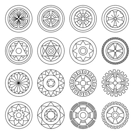 Icon geometric mandalas coloring pages. Ideal for visual communication, information and institutional materials