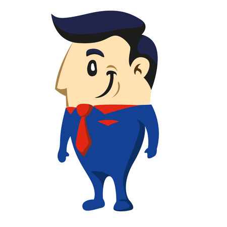 Illustration of an executive character in blue suit and red tie. Ideal for training materials and presentations