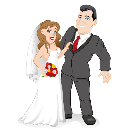 catalogs: Bride and groom couple in love, with the bride holding the bridegroom by the jacket. Ideal for catalogs, information and institutional materials Illustration