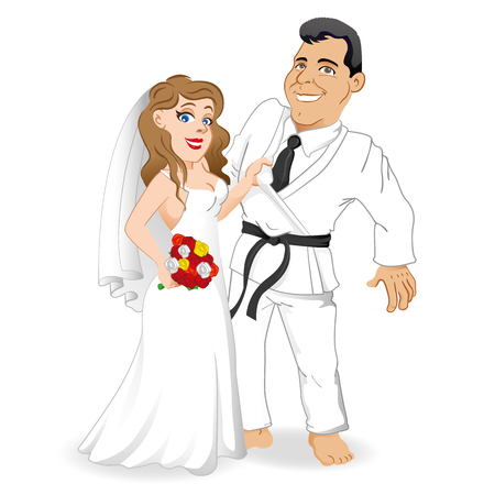 Bridegroom couple in love, with the bride holding the bridegroom by the kimono. The groom and the martial arts fighter Ideal for catalogs, informational and institutional materials Illustration