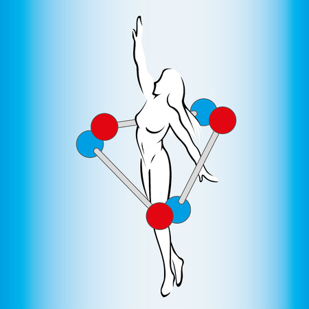 Silhouette of woman between molecules and atoms, symbolizing evolution. Ideal for educational and informational materials
