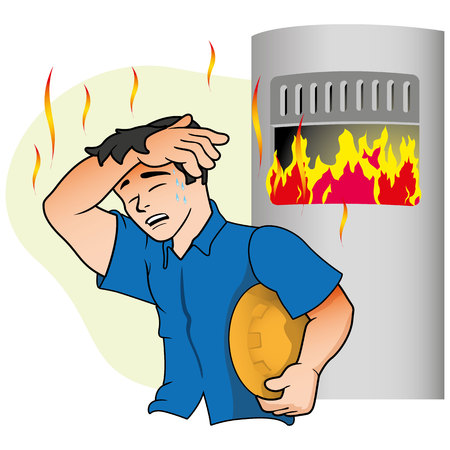 Caucasian male mascot showing Symptoms of heat near the oven. Ideal for educational and health and medical information materials Illustration