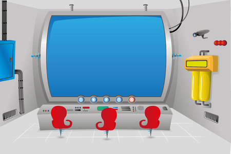 Scenario or background of a special futuristic control room with big screen. Ideal for educational material, animations and games
