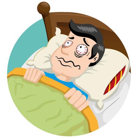 不眠症の症状や問題のボブ マスコット男人。理想的な教育と保健医療情報資料