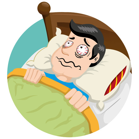 Bob Mascot man person, with problems and insomnia Symptoms. Ideal for educational and health and medical information materials
