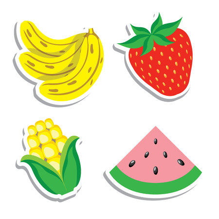 Illustration icon of fruits and cereal healthy corn, strawberry, watermelon and banana food. Ideal for food and nutritional education materials