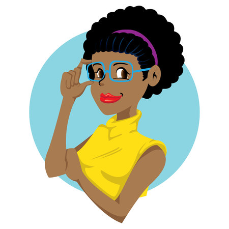 Beautiful african-descendant young woman and charismatic, intelligent, successful. Ideal for promotional and educational materials