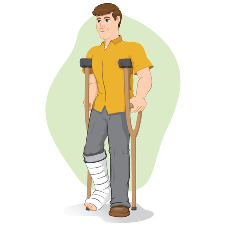 Illustration of an caucasian person, of crutches with injured leg bandaged or plastered. Ideal for medical and institutional materials