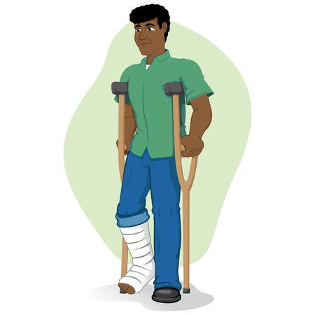 Illustration of an afrodescendant person, of crutches with injured leg bandaged or plastered. Ideal for medical and institutional materials