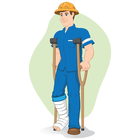Illustration of an operative caucasian person, of crutches with injured leg bandaged or plastered. Ideal for medical and institutional materials
