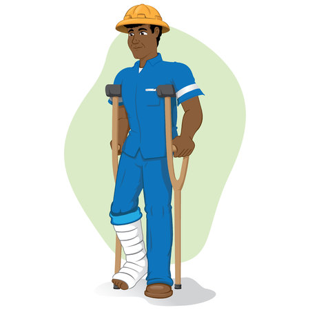 Illustration of an afrodescendant operative person, of crutches with injured leg bandaged Illustration