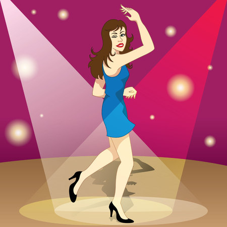 Beautiful brunette happy girl dancing happily the night in the ballad. Ideal for promotional and institutional materials Illustration
