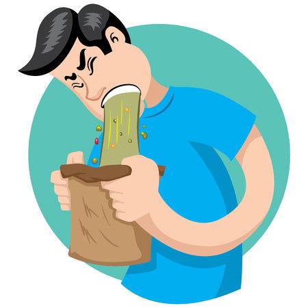 Bob Maskottchen mit Problemen und Erbrechen Symptome. Ideal für Bildungs-, Gesundheits- und medizinische Informationsmaterialien Standard-Bild - 74790506