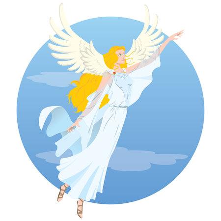 イラスト美しい天使のような金髪の女性、飛行を持つ女神の翼します。宗教、教育の材料に最適