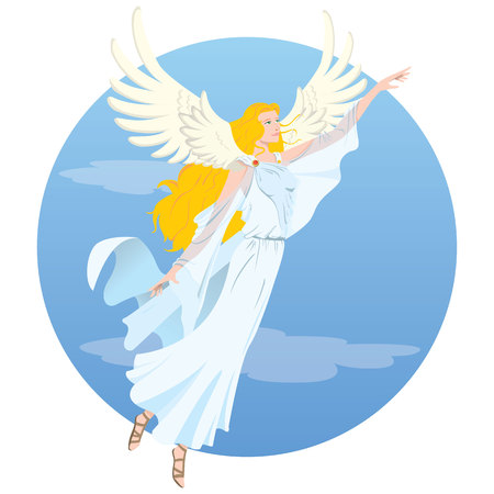 Illustration beautiful angelic blonde woman, goddess, with flying wings. Ideal for religious and educational materials