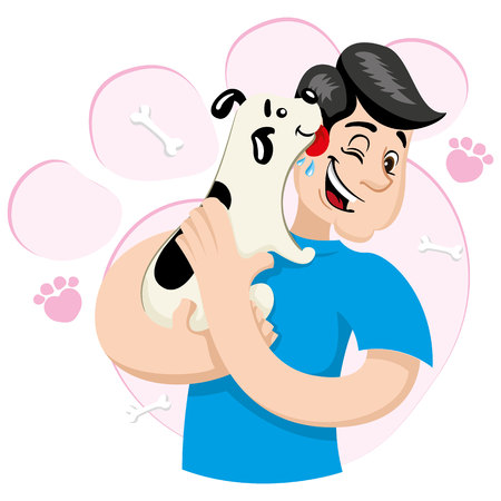 wścieklizna: Illustration mascot bob hugging a dog Demonstrating a lot of affection. Ideal for visual communication, veterinary information and institutional materials