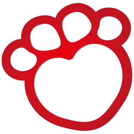 information symbol: Illustration icons, dog paw with heart symbol. Ideal for visual communication, veterinary information and institutional materials Illustration