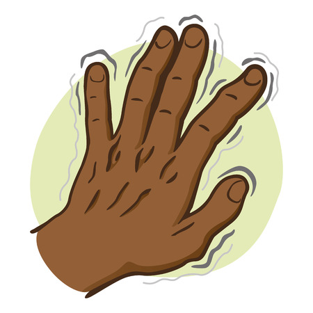 Close body part, hands shaking Symptoms of, Parkinsons disease, cold or fear, afrodescendent. Ideal for educational and institutional and medical materials Illustration