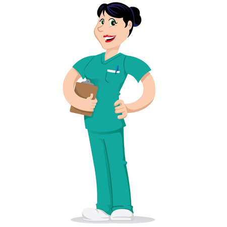 Female mascot bella caretaker, nurse. Ideal for educational and educational materials