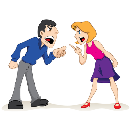Illustration two people man and woman arguing, fighting couple. Ideal for educational and institutional materials