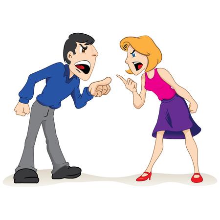 Ilustración dos personas hombre y mujer discutiendo, luchando pareja. Ideal para materiales educativos e institucionales