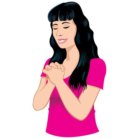 Illustration einer jungen Frau meditiert und beten niedergeschlagen, Buddhismus, Religion, Philosophie. Ideal für institutionelle und religiöse Materialien Standard-Bild - 75841265