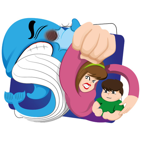 protective eyewear: Illustration of a mother protecting her child against the risk of the blue whale. Ideal for educational materials and warning, prevention