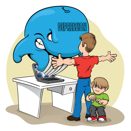 Illustration of a child her father protecting against the risk of the blue whale. Ideal for educational materials and warning, prevention