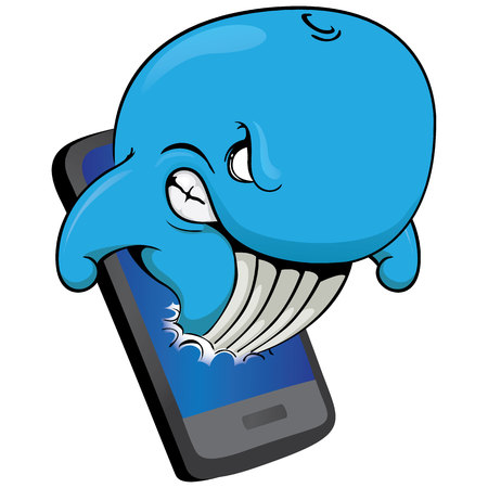 Illustration of a blue whale coming out of a mobile phone, warning of the dangers of the internet. Ideal for educational materials and warning, prevention