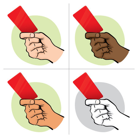 institutional: Illustration of person ethnicity, hand holding a red card. Ideal for sports catalogs, informative and institutional guides