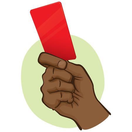 Ilustracja osoby afrodescendente, ręka trzyma czerwoną kartkę. Idealny do katalogów sportowych, przewodników informacyjnych i instytucjonalnych