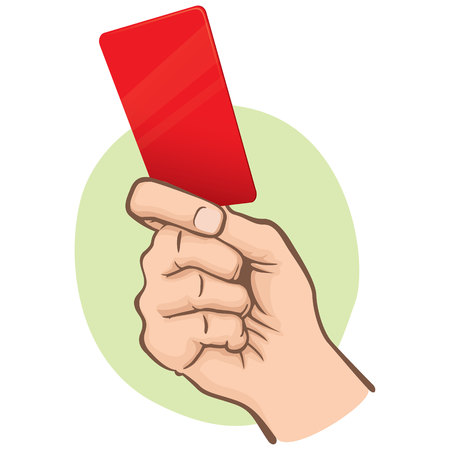 Illustration of Caucasian person holding a red card. Ideal for sports catalogs, informative and institutional guides