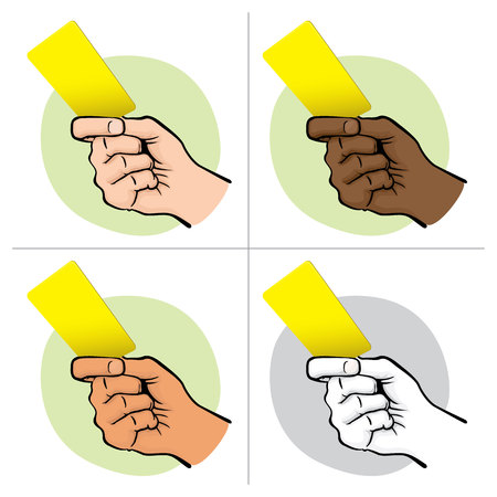 disloyal: Illustration of person ethnicity, hand holding a yellow card. Ideal for sports catalogs, informative and institutional guides Illustration