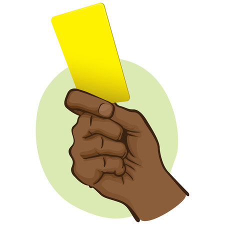 Illustration of person afrodescendente, hand holding a yellow card. Ideal for sports catalogs, informative and institutional guides Illustration