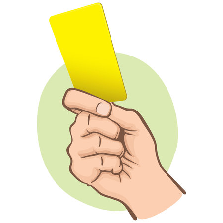 Illustration of Caucasian person holding a yellow card. Ideal for sports catalogs, informative and institutional guides
