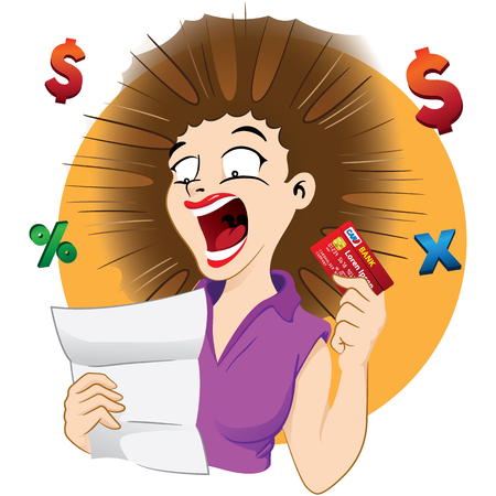 Illustration Frightened woman with credit card bill. Ideal for catalogs, information and institutional material