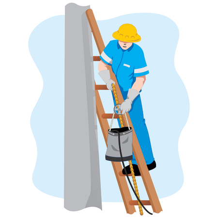 Safety at work, employee standing on a ladder lifting tool. Ideal for training and educational materials Zdjęcie Seryjne - 80766819