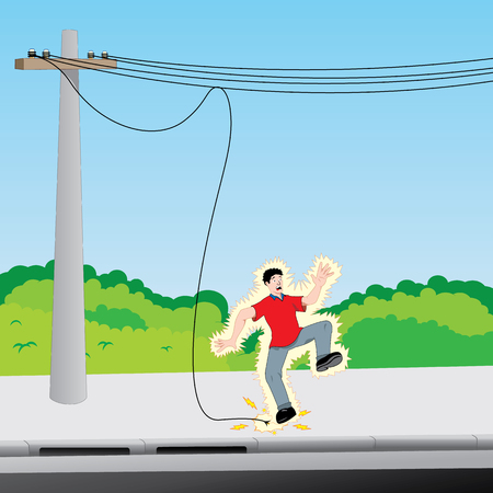 Illustration depicting a young man receiving an electric discharge on exposed electric wire. Ideal for catalogs, information and safety and institutional material