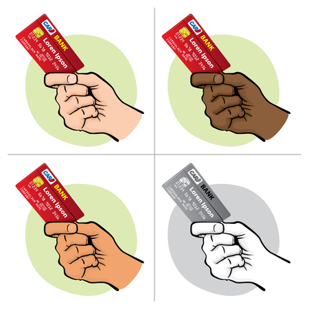 Illustration represents the close-up of a hand holding a credit card, Caucasian. Ideal for financial campaigns Vetores