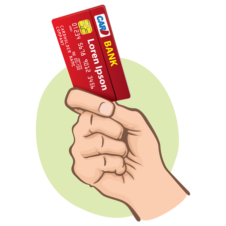 Illustration represents the close-up of a hand holding a credit card, Caucasian. Ideal for financial campaigns Ilustrace